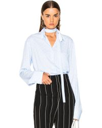 Haider Ackermann - Polka Dot Inside Tie Shirt In Pale Blue & Byron White - Lyst