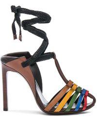 Saint Laurent - Leather Majorelle Ankle Tie Sandals - Lyst