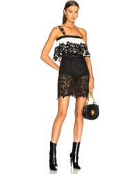 Fausto Puglisi - Lace Ruffle Dress With Belt Strap In Black & White - Lyst