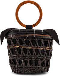 Sensi Studio Totora Straw Basket With Polished Bamboo Handle Bag - Black