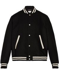 Saint Laurent Teddy College Varsity Jacket - Black