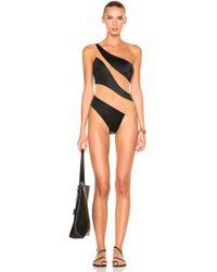Norma Kamali Mio One Shoulder Mesh Paneled Swimsuit - Black