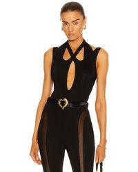 Mugler Criss Cross Bodysuit - Black