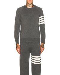Thom Browne - Cashmere 4 Bar Stripe Crewneck Sweatshirt - Lyst