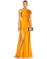 Michelle Mason Asymmetrical Gathered Gown - Orange