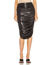 Norma Kamali Shirred To Knee Skirt - Metallic