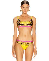 Versace Baroque Bikini Top - Yellow