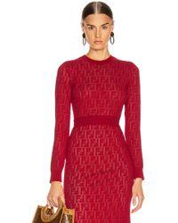 Fendi Long Sleeve Ff Sweater - Red