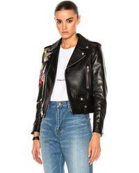 Saint Laurent | Embellished Embroidered Leather Motorcycle Jacket | Lyst