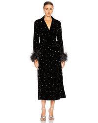 Miu Miu Velvet Embroidered Long Jacket - Black