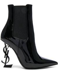 Saint Laurent Patent Opium Monogram Heeled Boots - Black