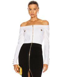 Balmain Zipped Off-the-shoulder Diamond Knit Top - Multicolour