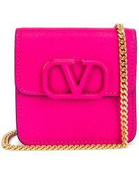 Valentino Garavani Small VSling Wallet on Chain Bag - Pink