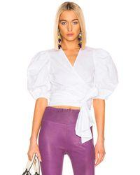 Ganni Bluse aus Baumwoll-Popeline - Weiß