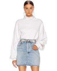 Agolde Balloon Sleeve Turtleneck Sweatshirt - White