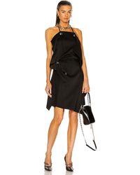 Givenchy Asymmetrical Short Draped Dress - Black