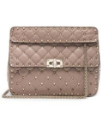 Valentino - Quilted Rockstud Spike Medium Shoulder Bag In Poudre - Lyst
