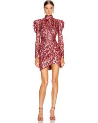Jonathan Simkhai Puffed Sleeve Fil Coupé Silk Mini Dress - Red
