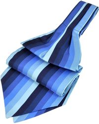FORZIERI Gewobenes Seiden Ascot mit vertikalen Streifen - Blau