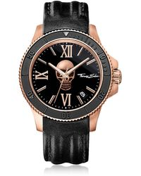 Thomas Sabo Rebel Icon Rose Gold Stainless Steel Men's Watch w/Black Leather Strap - Negro
