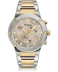 Ferragamo - F-80 Silver Stainless Steel And Gold Ip Men's Chronograph Watch W/silver Guilloche' Dial - Lyst