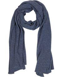 Mila Schon   Solid Dark Blue Wool Blend Stole   Lyst