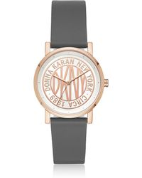 DKNY - Soho 34mm Rose Gold-tone Stainless-steel Logo Watch With Leather Strap - Lyst