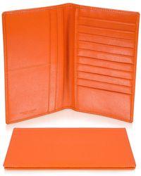 Giorgio Fedon - Classica Collection - Orange Calfskin Vertical Card Holder Wallet - Lyst