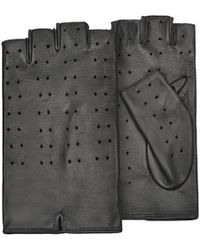 Forzieri   Women's Black Perforated Fingerless Leather Gloves   Lyst