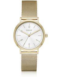 DKNY - Minetta Gold Tone Stainless Steel Mesh Women's Watch - Lyst