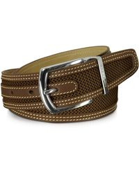Moreschi - St.barth Brown Perforated Nubuck And Leather Belt - Lyst