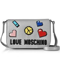 Love Moschino - Love Pixel Silver Eco-leather Crossbody Bag - Lyst