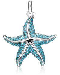 Thomas Sabo - Blackened Sterling Silver Starfish Pendant W/turquoise Stone Glass-ceramic Stones - Lyst