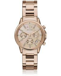 Armani Exchange Lady Banks Rose Tone Chronograph Women's Watch - Mettallic