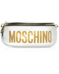 Moschino Logo Gürteltasche aus Leder in weiß