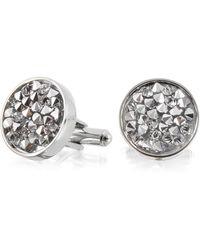 FORZIERI Lumiere Crystal And Brass Round Cufflinks - Metallic