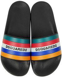 DSquared² Slides da Uomo in Gomma Nera e Righe Multicolor - Nero