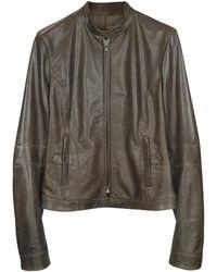 FORZIERI Brown Leather Band Collar Motorcycle Jacket - Braun