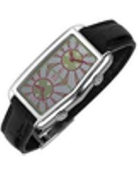 Versace Damenuhr mit grauem log-Geschmücktem Zifferblatt mit zwei Zeitzonen und Lederarmband
