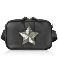 Les Jeunes Etoiles Leather Vega Belt Bag W/chain Strap - Black