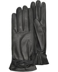 FORZIERI - Gants femme en cuir noir avec naud - Lyst