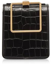 Marge Sherwood Black Croco Embossed Leather Large Pump Handle Satchel Bag - Negro