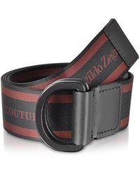 Ermenegildo Zegna Signature Stripe Canvas Men's Belt - Brown