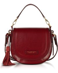 The Bridge Medium Leather Messenger Bag W/tassels - Red