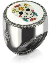 Azhar - Calavera Skull Rhodium Plated Sterling Silver Adjustable Ring W/white Cubic Zirconia - Lyst