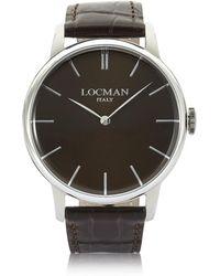 LOCMAN - 1960 Stainless Steel Men's Watch W/ Dark Brown Croco Embossed Leather Strap - Lyst