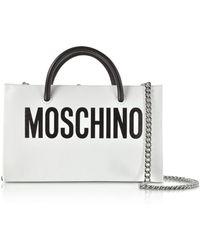 Moschino - White Leather Crossbody Bag W/signature Logo - Lyst