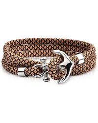FORZIERI Light Brown and Black Rope Triple Bracelet w/Anchor - Braun