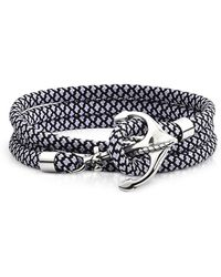 FORZIERI Black and White Rope Triple Bracelet w/Anchor - Schwarz