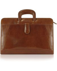 Chiarugi - Handmade Brown Genuine Italian Leather Portfolio Briefcase - Lyst